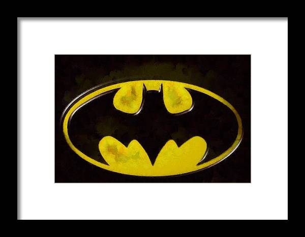 Painted Batman Logo Framed Print By Dan Sproul