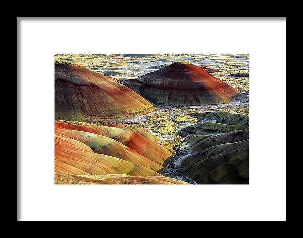 Chiaroscuro Framed Print featuring the photograph Painted Hills, Sunset, John Day Fossil by Michel Hersen