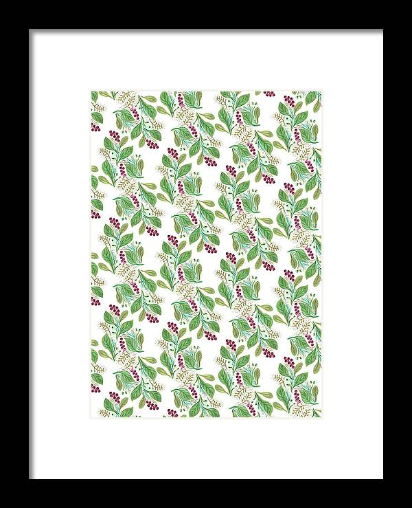 Nature Framed Print featuring the painting Painted Nature Coorsinating Foliage Leaves Pattern by MGL Meiklejohn Graphics Licensing