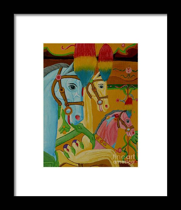 Carousel Framed Print featuring the painting Painted Ponies by Anthony Dunphy