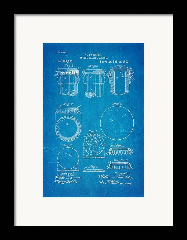 Famous Framed Print featuring the photograph Painter Bottle Cap Patent Art 1892 Blueprint by Ian Monk