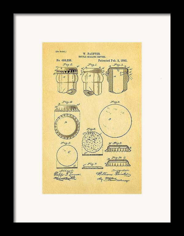 Famous Framed Print featuring the photograph Painter Bottle Cap Patent Art 1892 by Ian Monk