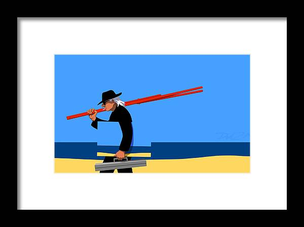 Man Framed Print featuring the digital art Painter  by Tom Dickson