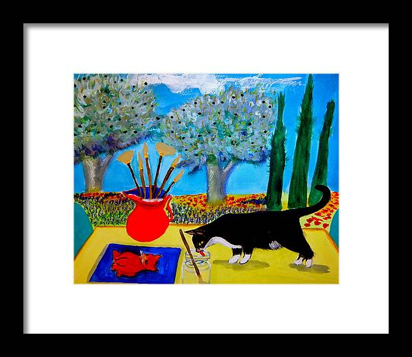 Provence Framed Print featuring the painting Painting is thirsty work by Rusty Gladdish