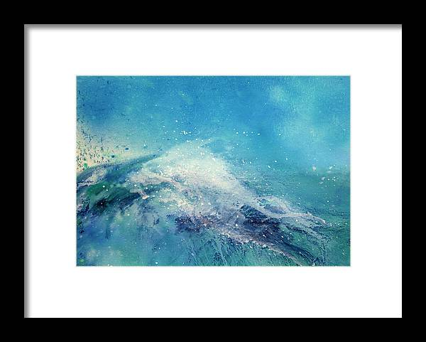 Gouache Framed Print featuring the digital art Painting Of An Ocean Wave by Brad Rickerby