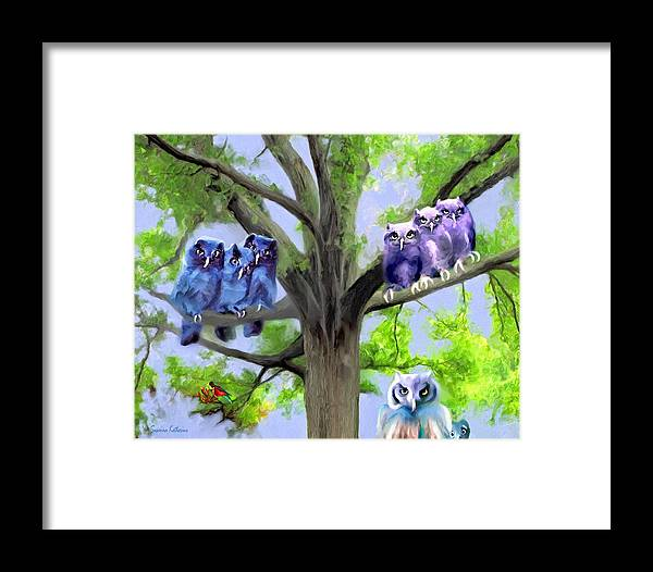 Painting Of Owls Framed Print featuring the painting Painting Of Owls And Birds Nest In Tree by Susanna Katherine