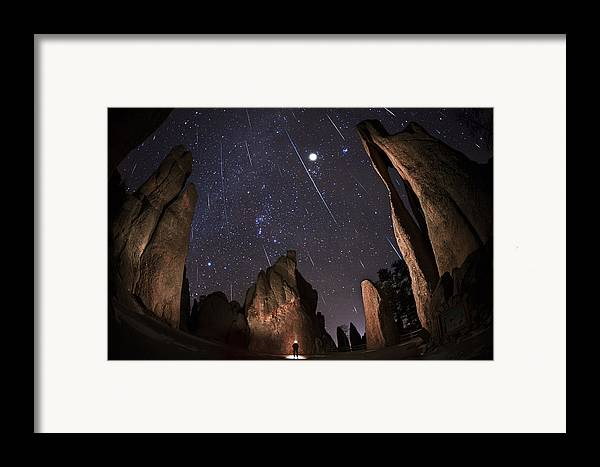 All Rights Reserved Framed Print featuring the photograph Painting The Needles Under The Geminids Meteor Shower by Mike Berenson