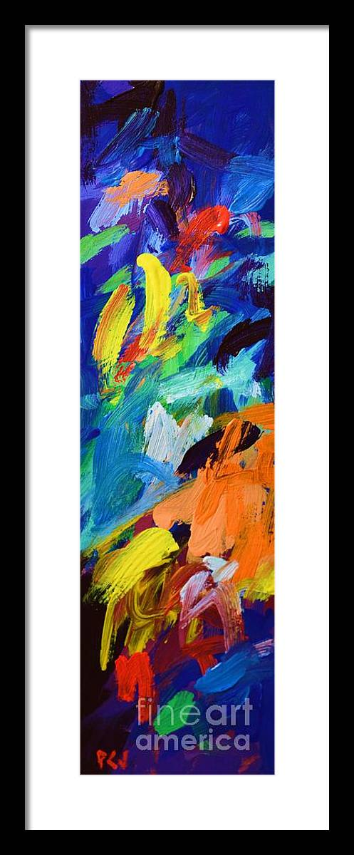 And God Said Let There Be Light Framed Print featuring the painting And God Said Let There Be Light - Genesis1 3 - Blue Abstract Expressionist Painting by Philip Jones