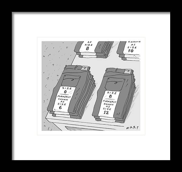 Women's Clothing Framed Print featuring the drawing Pairs Of Jeans Are Seen With Tags Listing by Kim Warp