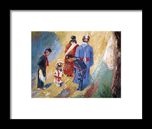 Paiute Framed Print featuring the painting Paiute Children Dressed For The Powwow by Gretchen Jones