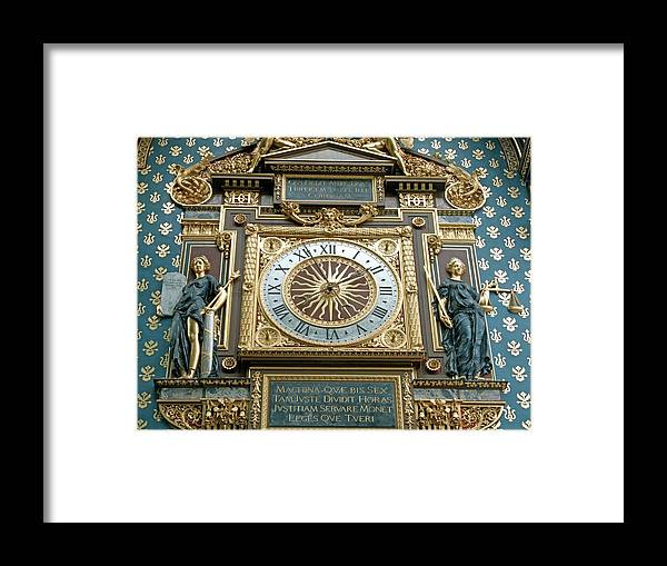 Justice Framed Print featuring the photograph Palace Of Justice Clock by Alex Bartel