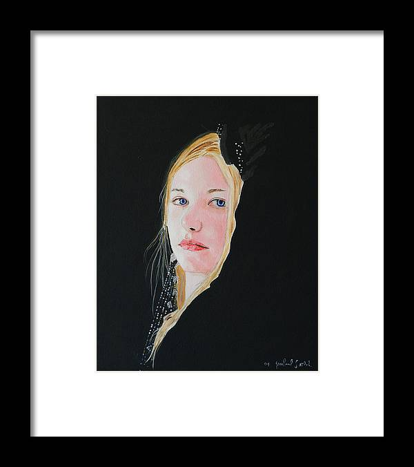 Woman Framed Print featuring the painting Pale Blue Angel by Jean-Paul Setlak