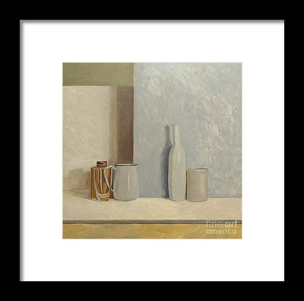 Still Life Framed Print featuring the painting Pale Grey And Blue by William Packer