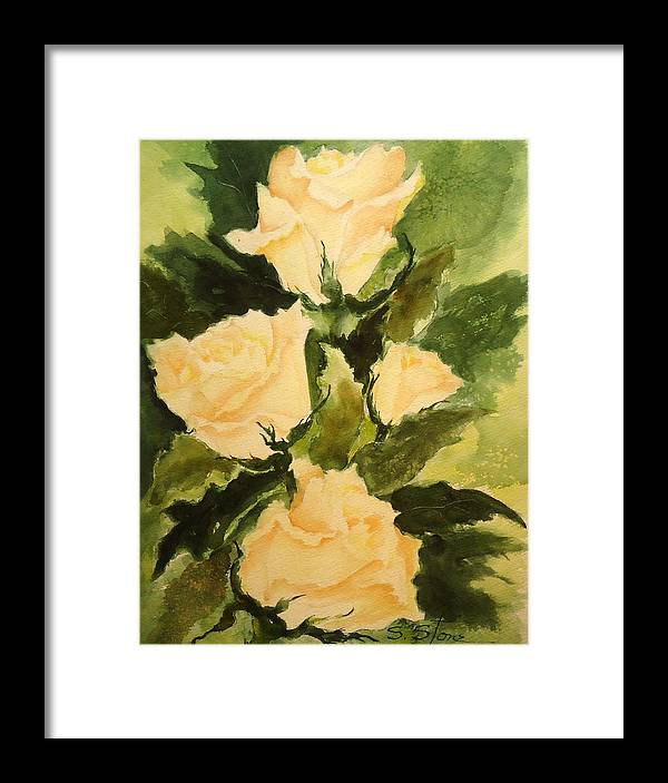Still Life Framed Print featuring the painting Pale Yellow Roses by Sandra Stone