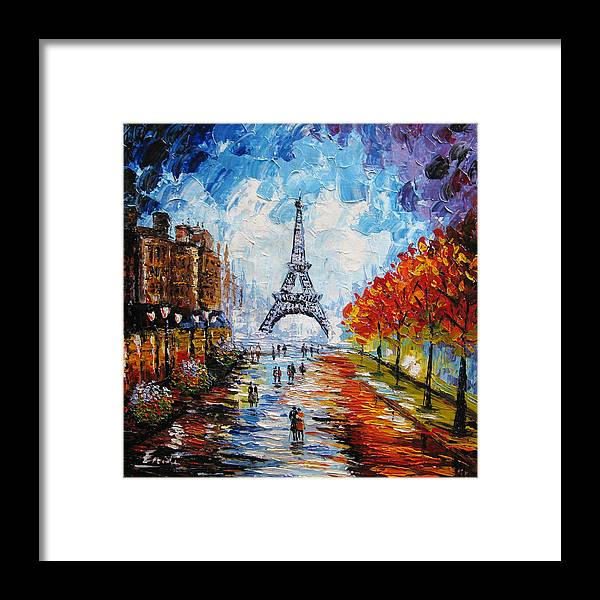 Paris Framed Print featuring the painting palette knife painting Paris Eiffel tower by Enxu Zhou
