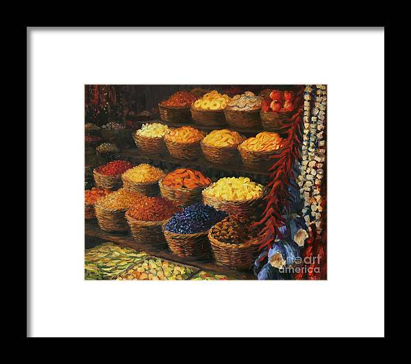Fruits Framed Print featuring the painting Palette of The Orient by Kiril Stanchev