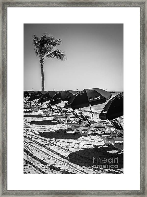America Framed Print Featuring The Photograph Palm And Beach Umbrellas    Higgs Beach   Key West