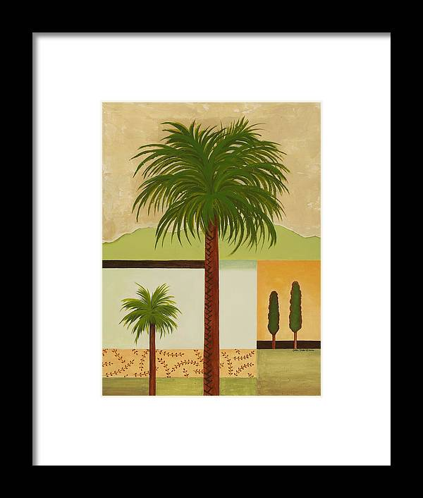 Palm Trees Framed Print featuring the painting Palm Desert by Carol Sabo