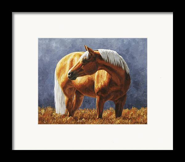 Horse Framed Print featuring the painting Palomino Horse - Gold Horse Meadow by Crista Forest