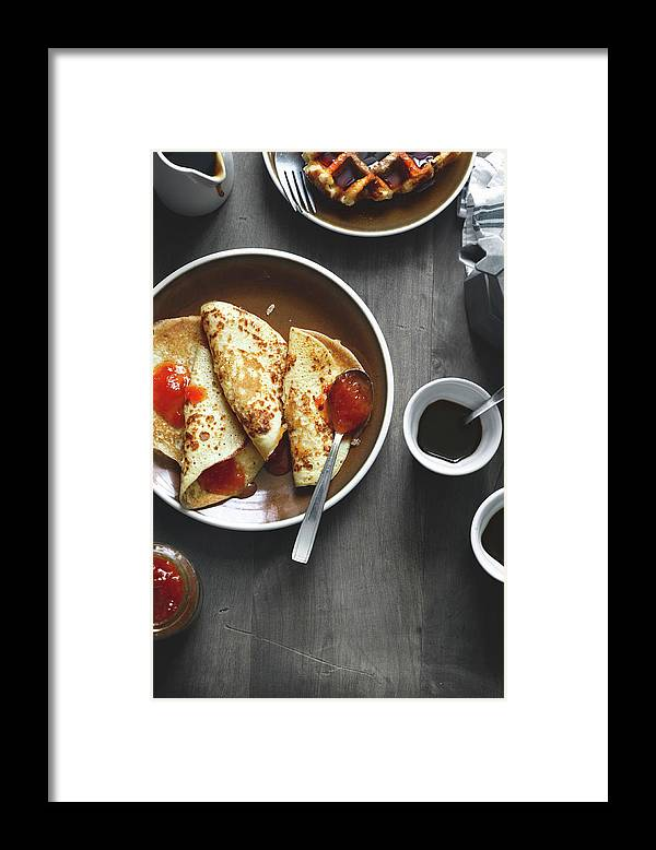 Gstaad Framed Print featuring the photograph Pancakes And Coffee by A.y. Photography