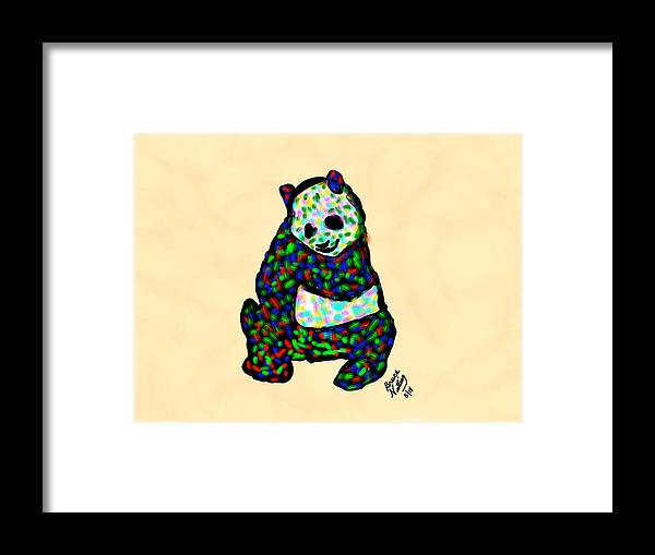 Panda Framed Print featuring the painting Panda A La Fauvism by Bruce Nutting
