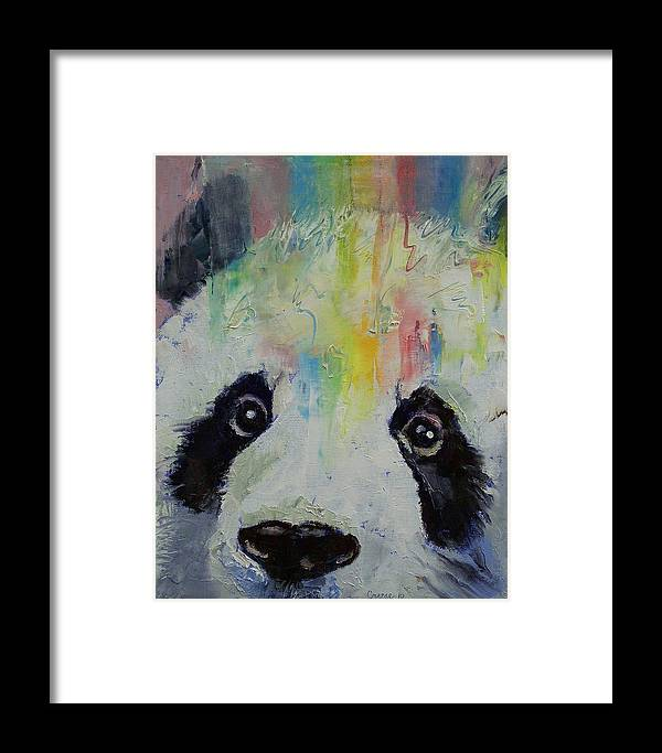Panda Framed Print featuring the painting Panda Rainbow by Michael Creese