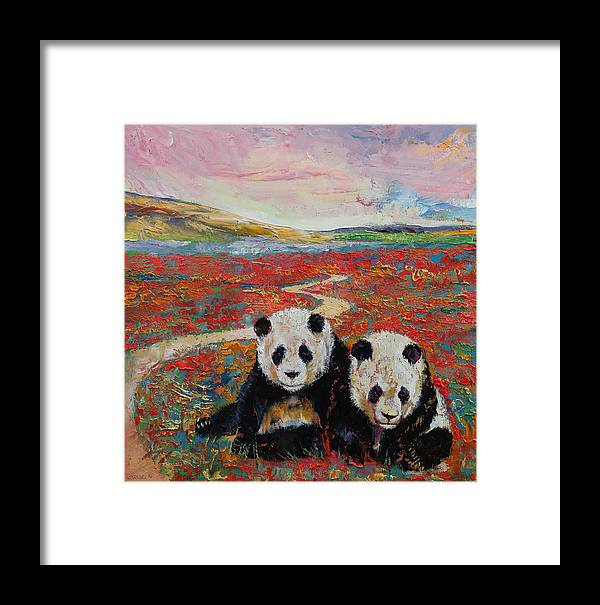 Art Framed Print featuring the painting Panda Paradise by Michael Creese