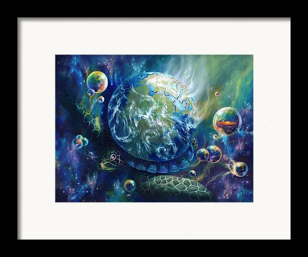 Turtle Framed Print featuring the painting Pangaea by Kd Neeley