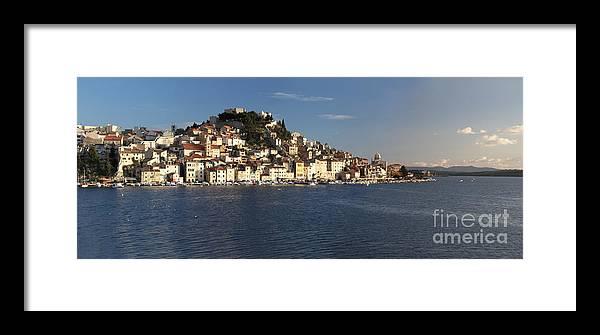 Sibenik Framed Print featuring the digital art Panorama Of Old Croatian City Sibenik by Tomislav Zivkovic