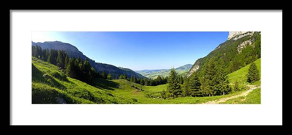 Appenzell Framed Print featuring the photograph Panorama Of The Appenzeller Hills Near Mount Saentis Switzerland by PIXELS XPOSED Ralph A Ledergerber Photography