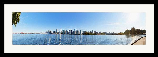 Vancouver Framed Print featuring the digital art Panorama Of Vancouver Harbor by Jodi Jacobson