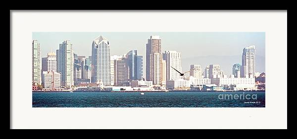 San Diego Harbor Framed Print featuring the photograph Panoramic Image Of San Diego From The Harbor by Artist and Photographer Laura Wrede