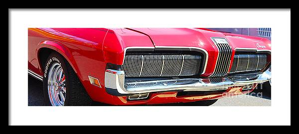 American Muscle Car Framed Print featuring the photograph panoramic red Cougar by Mark Spearman