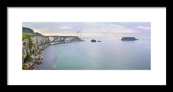 Antrim Framed Print featuring the photograph Panoramic View Of The North Coast Of Northern Ireland by Georgi Djadjarov