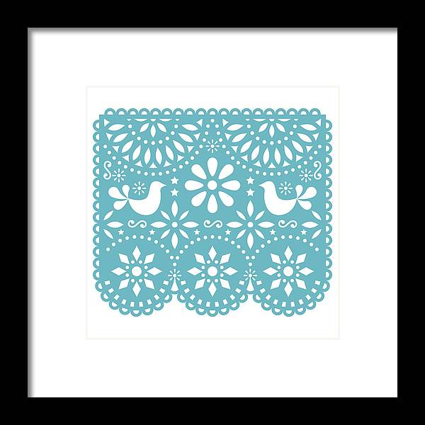Papel Picado Vector Template Design Mexican Paper Decorations With Birds And Flowers Traditional Fiesta Banner In Turquoise Framed Print