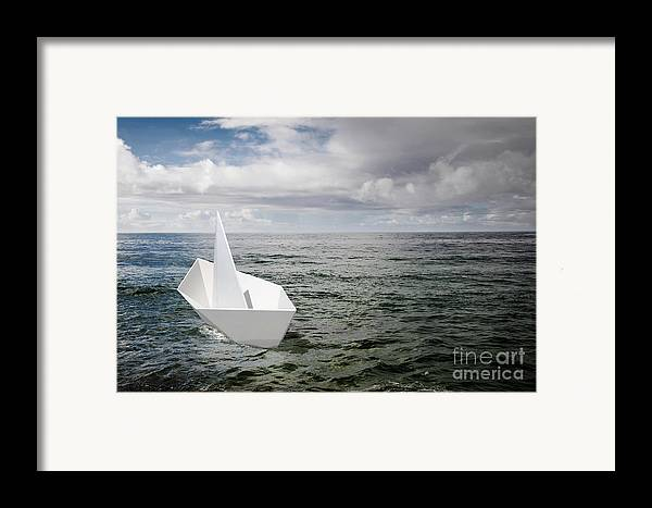 Abstract Framed Print featuring the photograph Paper Boat by Carlos Caetano