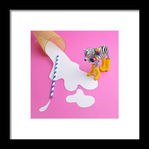 Milk Framed Print featuring the photograph Paper Craft Glass Of Spilled Milk With by Juj Winn