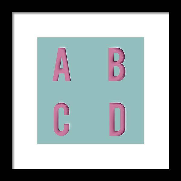 Paper Cutout Letters Realistic 3d Template Design Mock Up Vector  Illustration Framed Print