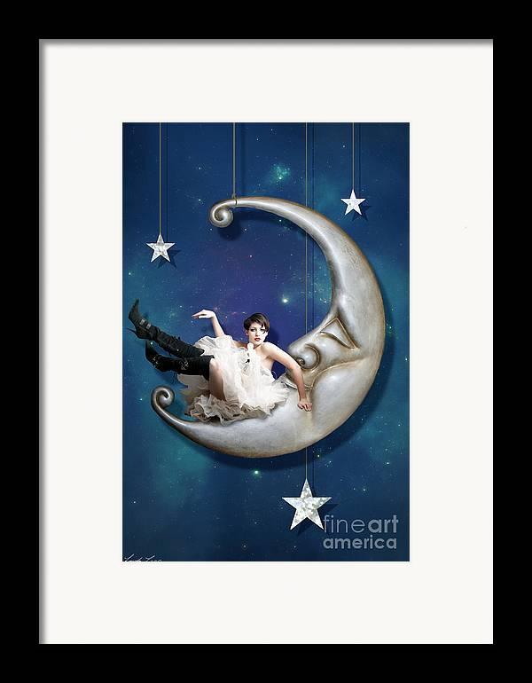Moon Framed Print featuring the digital art Paper Moon by Linda Lees