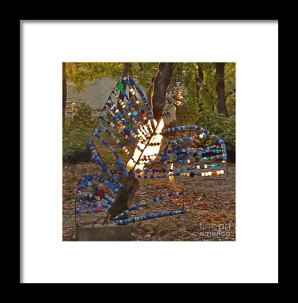 Papillon Framed Print featuring the mixed media Papillon by Katia Weyher