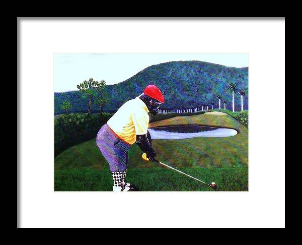 Golf Framed Print featuring the painting Par Four by George I Perez