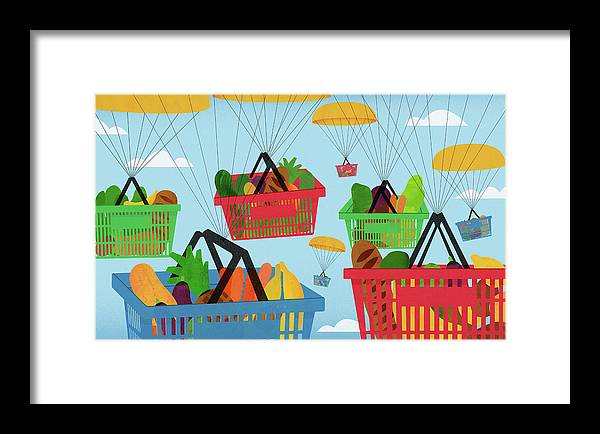 Abundance Framed Print featuring the photograph Parachutes Carrying Lots Of Shopping by Ikon Ikon Images