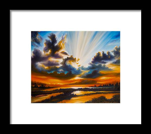 Sunrise Framed Print featuring the painting Paradise by James Christopher Hill