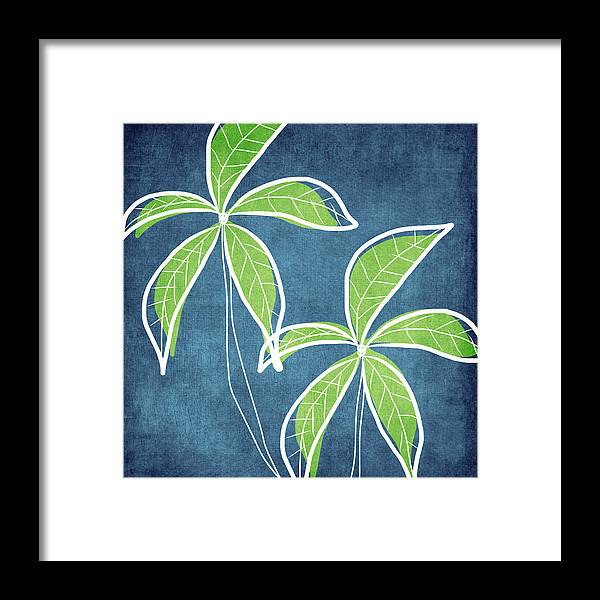 Palm Trees Framed Print featuring the painting Paradise Palm Trees by Linda Woods