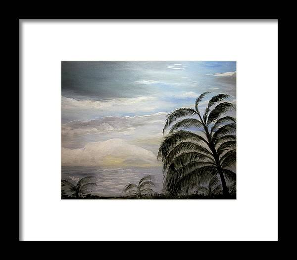 Oil Framed Print featuring the painting Paradise Sky by Nancy Craig