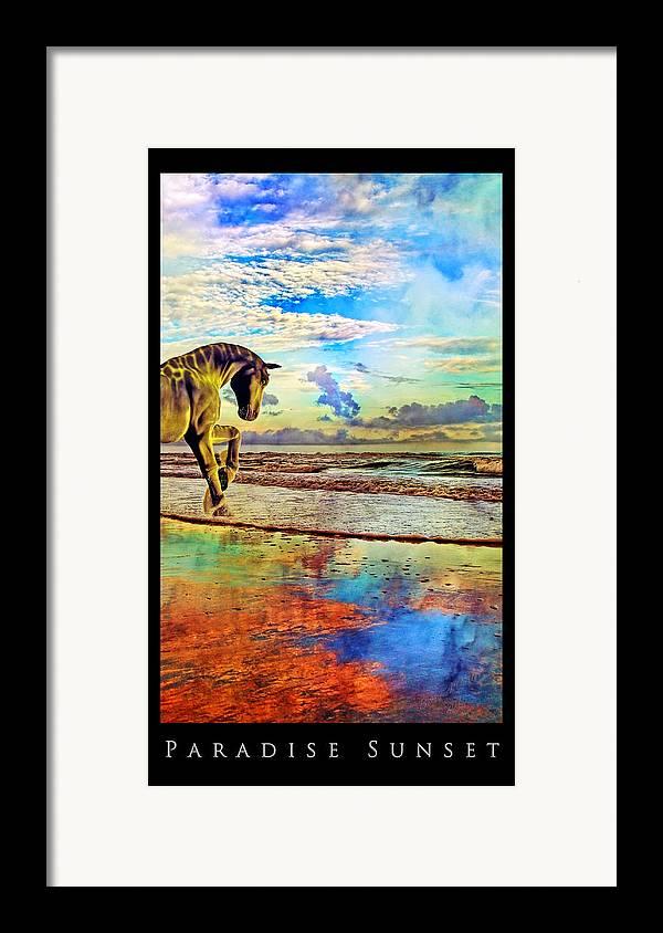 Beach Framed Print featuring the mixed media Paradise Sunset by Betsy Knapp