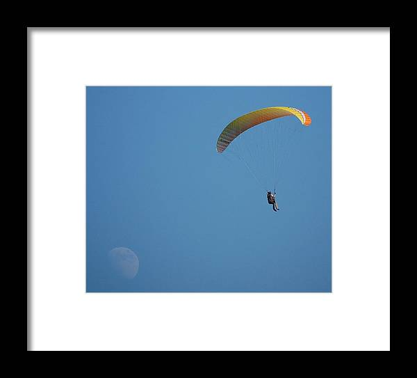 Paragliding Framed Print featuring the photograph Paragliding With The Moon by Loreen Pantaleone