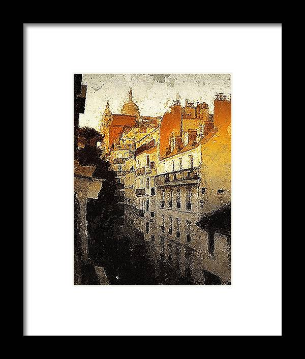 Paris Framed Print featuring the painting Paris Apartment View Of Montmartre by Marshall Thomas