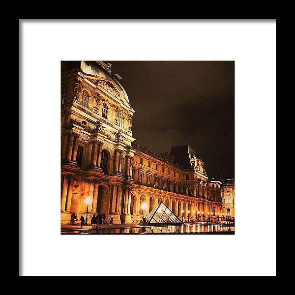 Urban Framed Print featuring the photograph #paris #france #louvre #night by Luisa Azzolini