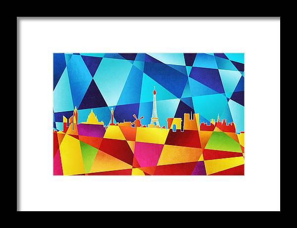 Paris Framed Print featuring the digital art Paris France Skyline by Michael Tompsett